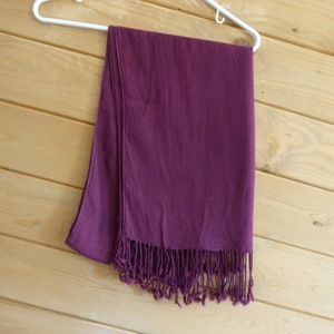 Accessories - Maroon Burgundy Wine Red Scarf Shawl Wrap Fringes